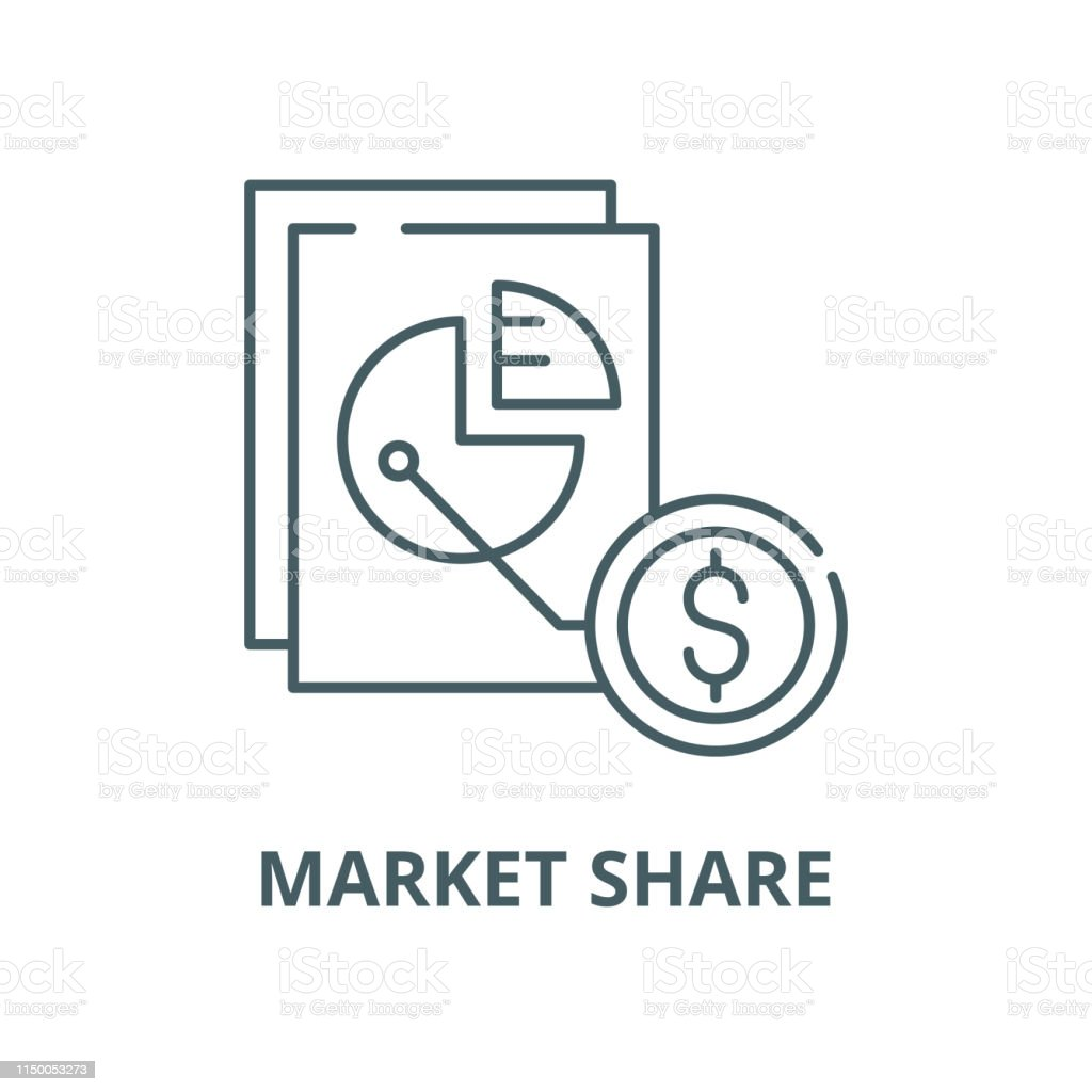 Market share vector line icon, outline concept, linear sign