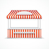 Market stall with red and white stripes. Vector illustration