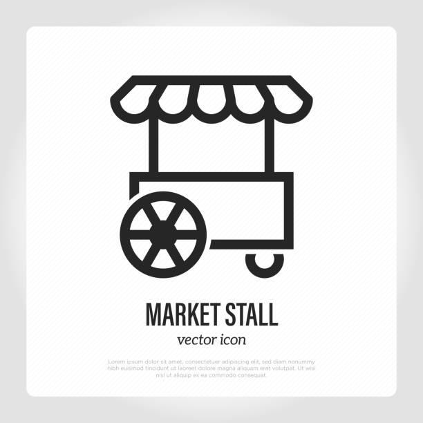 illustrazioni stock, clip art, cartoni animati e icone di tendenza di icona della linea sottile della ruota di stallo del mercato, mercato mobile. camion fast food. piccole imprese. illustrazione vettoriale moderna. - bancarella
