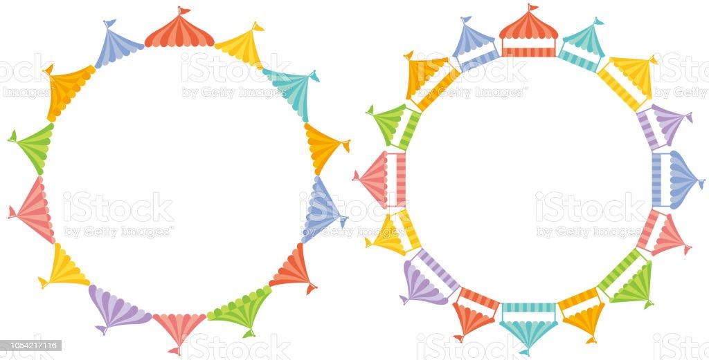 círculo de tendas de mercado. - ilustração de arte em vetor
