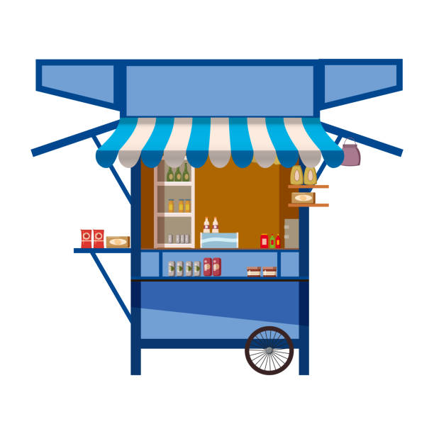 illustrazioni stock, clip art, cartoni animati e icone di tendenza di market store on wheels, stand stall and various kiosk, with red and white striped awning coffee, groceries products, fast food, vegetable, fresh fruit, handy craft, cake bakery . vector illustration isolated - banchi di pesci