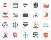 Flat line icons set of market strategy and business economy. Unique color flat design pictogram with outline elements. Premium quality vector graphics concept for web, logo, branding, infographics.