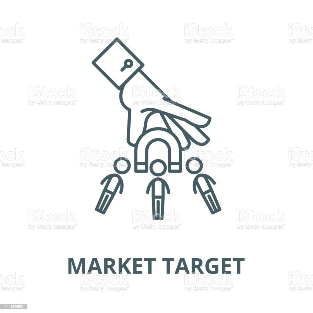 Market target vector line icon, outline concept, linear sign