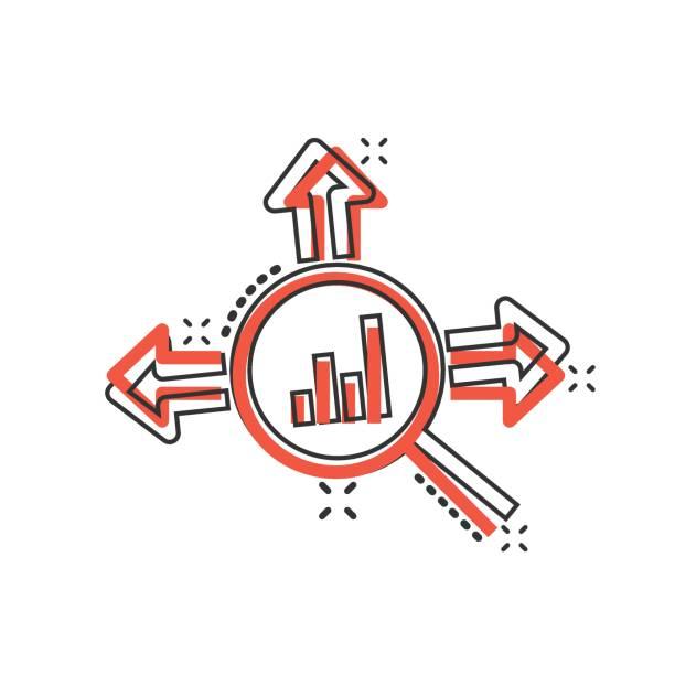 markttrend-ikone im comic-stil. wachstumspfeil mit lupe cartoon vektor-illustration auf weißem isolierten hintergrund. erhöhen sie das geschäftskonzept für splash-effekt. - splash grafiken stock-grafiken, -clipart, -cartoons und -symbole