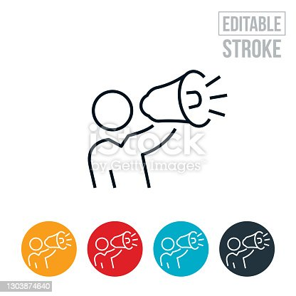 An icon of a marketer shouting through a bullhorn. The icon includes editable strokes or outlines using the EPS vector file.
