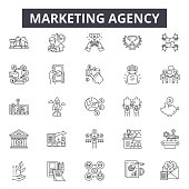 Marketing agency line icons, signs, vector set, outline concept, linear illustration