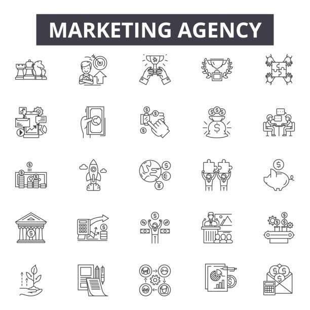 marketing-agentur-line icons, zeichen, vektor-set, lineares konzept, umrissillustration - arbeitsvermittlung stock-grafiken, -clipart, -cartoons und -symbole