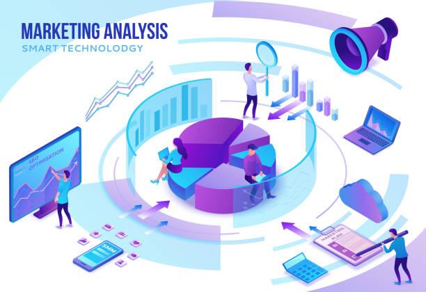 Marketinganalysekonzept, Social-Media-Netzwerk, 3d isometrische Infografik-Promotion-Kampagne, Online-Technologie, Menschen analysieren Werbebericht, Content-Plan, Seo-Optimierungs-Illustration – Vektorgrafik