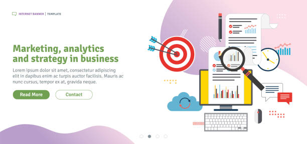 Marketing, analytics  and strategy in business Marketing, analytics and strategy in business. Data analysis, digital marketing and business marketing. Template in flat design for web banner or infographic in vector illustration. digital marketing stock illustrations