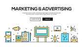 Marketing And Advertising Flat Line Web Banner Design