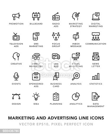 Marketing and Advertising Line Icons Vector EPS 10 File, Pixel Perfect Icons.