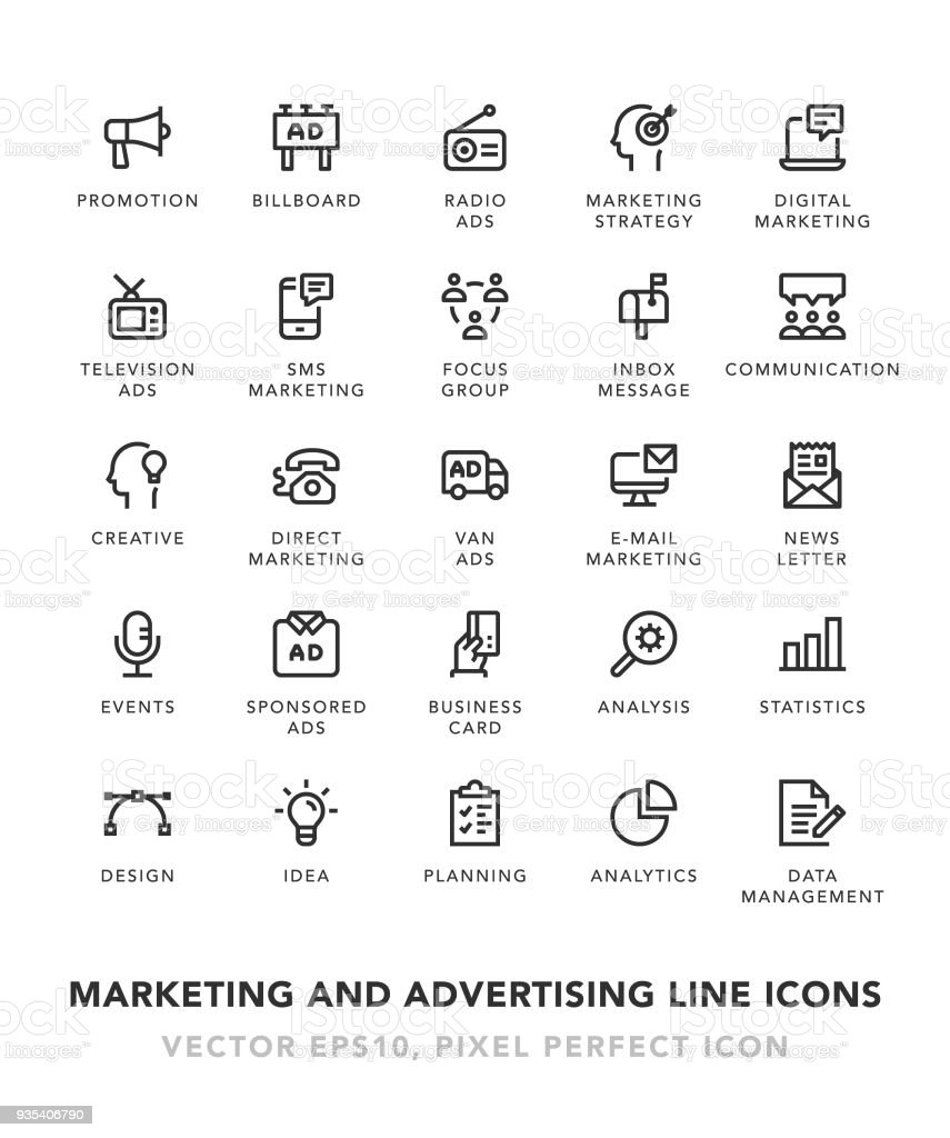 Marketing and Advertising Line Icons vector art illustration