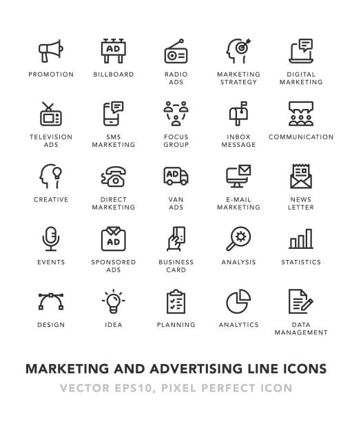 marketing and advertising line icons - digital display stock illustrations