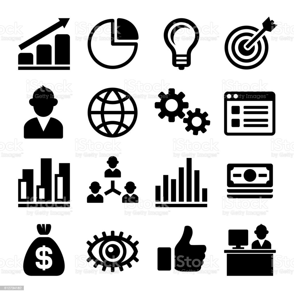Marketing and CEO Icons Set. Vector vector art illustration