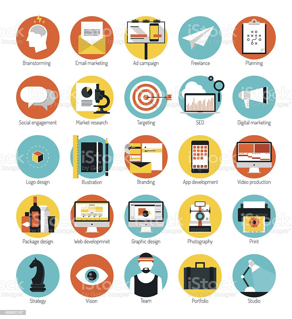 Marketing and design services flat icons set vector art illustration