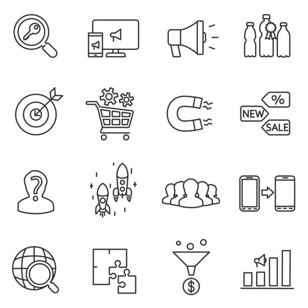 marketing and promotion icons set. marketing and promotion. isolated symbols collection magnet stock illustrations