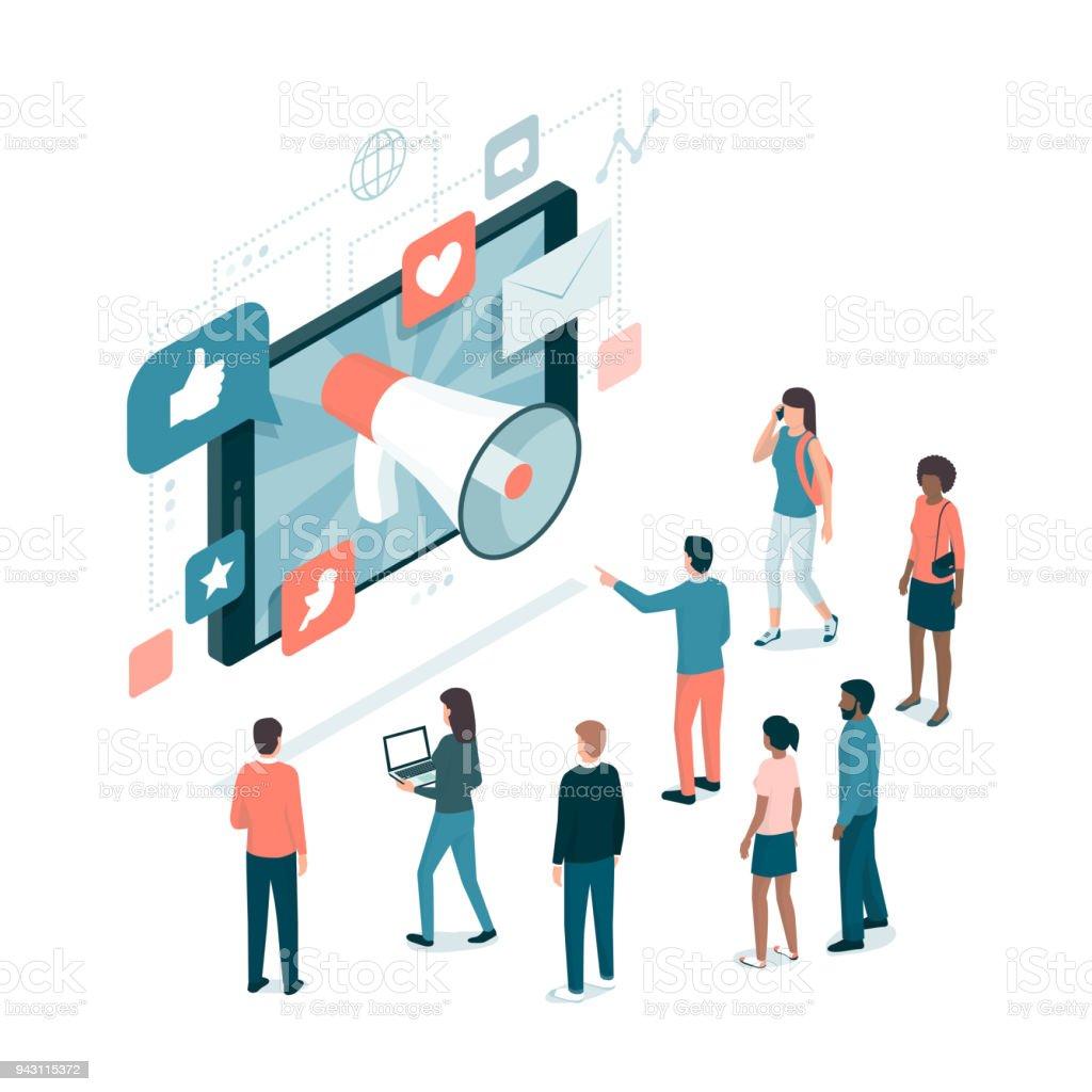 Marketing and social media vector art illustration