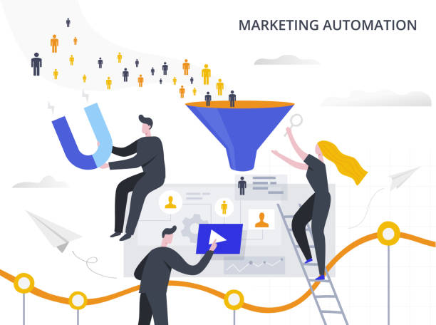 Marketing Automation and Lead Generation flat vector illustration. The process of attracting potential customers to the sales funnel, collecting information and automating the marketing process. Marketing Automation and Lead Generation vector illustration. The process of attracting potential customers to the sales funnel, collecting information and automating the marketing process. automated stock illustrations