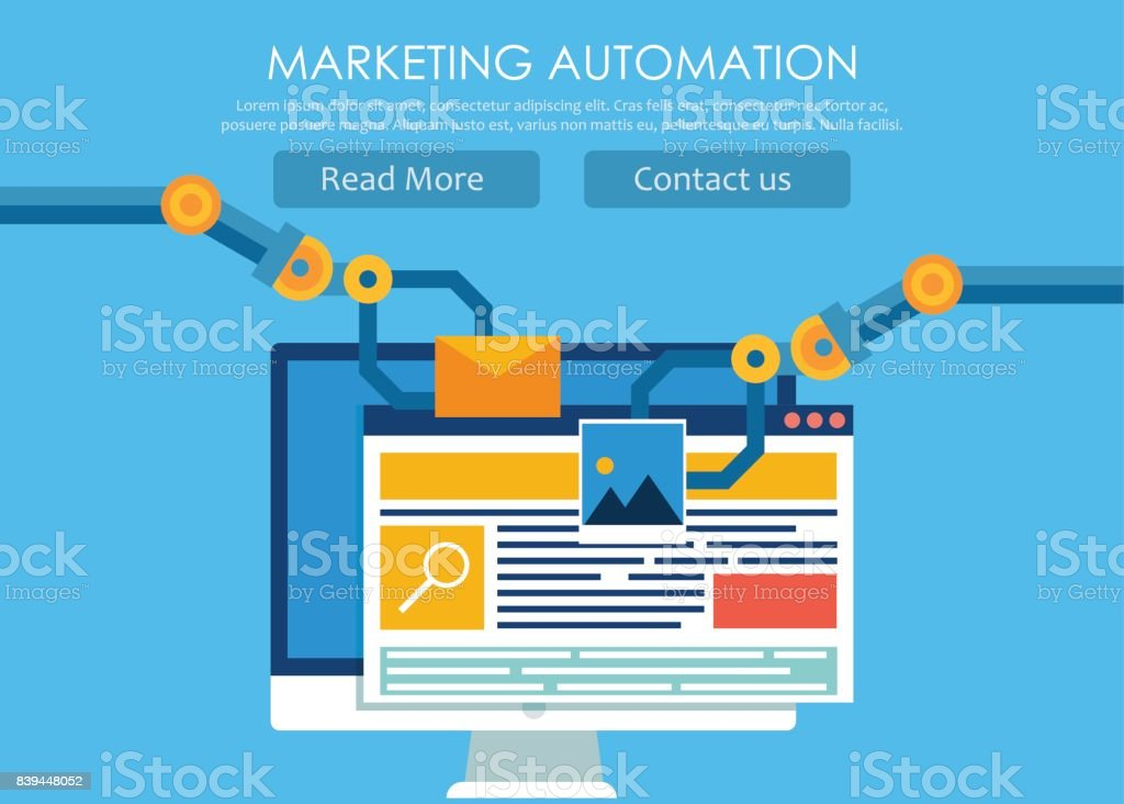 Marketing Automation. Computer with a site that builds the robot's hands. vector art illustration