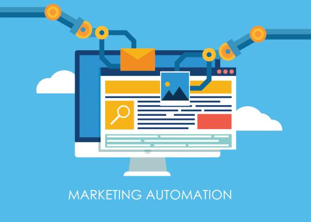 Marketing Automation. Computer with a site that builds the robot's hands. Marketing Automation. Computer with a site that builds the robot's hands. Vector flat illustration automated stock illustrations