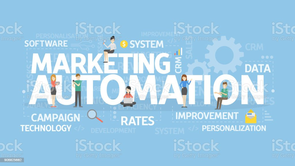 Marketing automation concept illustration. vector art illustration