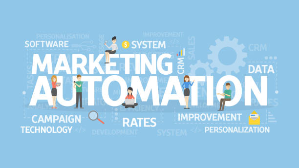 Marketing automation concept illustration. Marketing automation concept illustration. Idea of technology and business. automated stock illustrations
