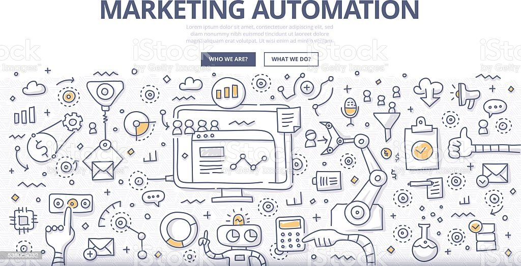 Marketing Automation Doodle-Konzept – Vektorgrafik