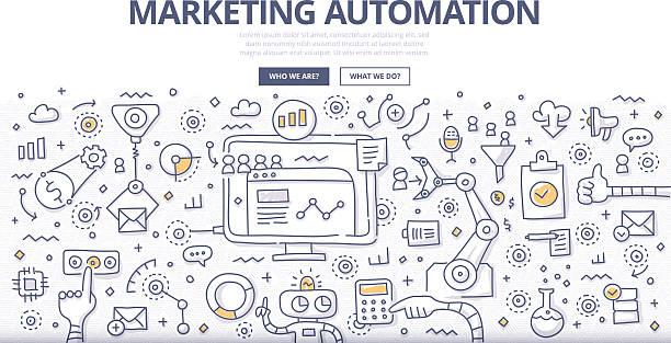 Marketing Automation Doodle Concept vector art illustration