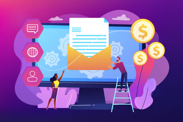Marketing automation system concept vector illustration. Cusromer receiving automated marketing message, tiny people. Marketing automation system, automated advertise message, marketing dashboard concept. Bright vibrant violet vector isolated illustration automated stock illustrations