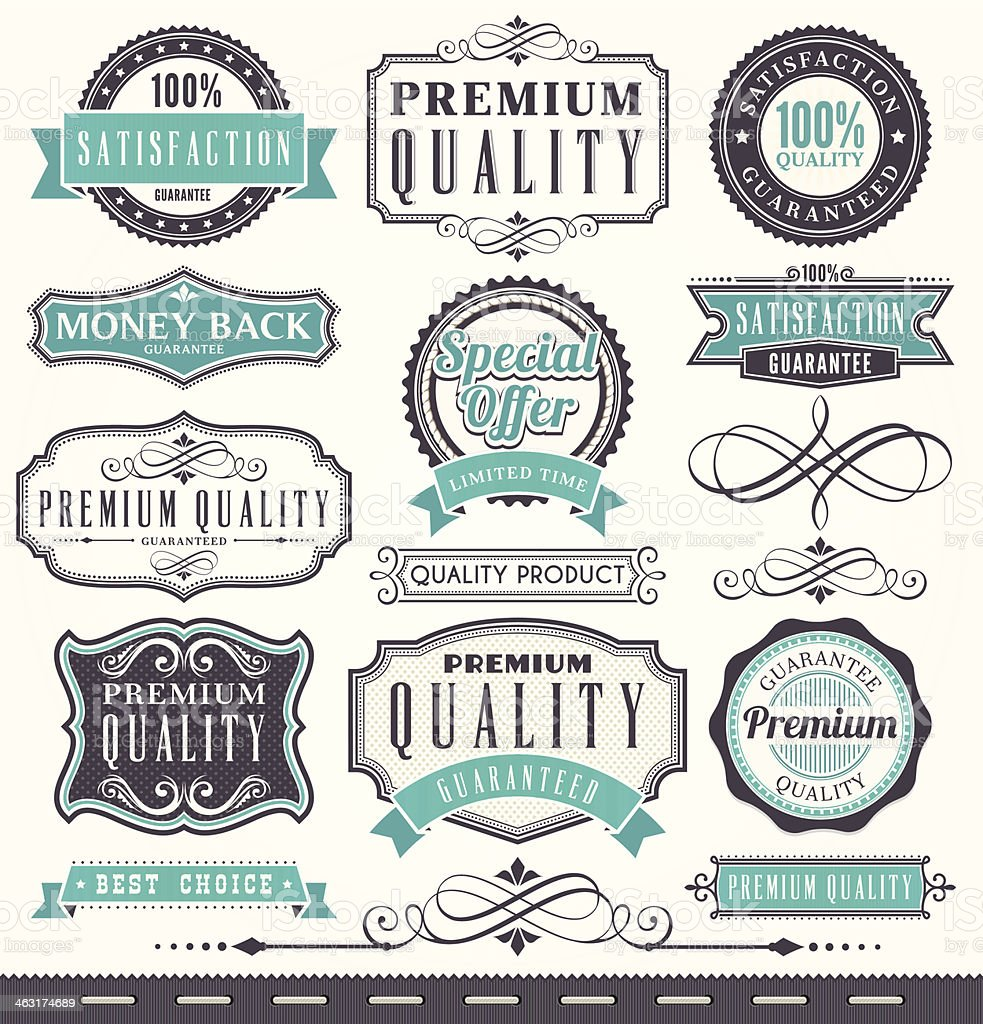 Marketing badges and vintage frame set vector art illustration