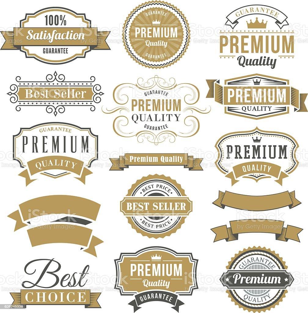 Marketing badges and vintage frame set