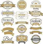 """Vector illustration set of vintage quality badges and labels with frames.  Black, white and blue colored vintage badges and labels have various shapes and sizes, and are set on an off-white background.  Old-fashioned text font is in white, black or blue colors.  Text wording on the large badges includes """"100% satisfaction,"""" """"premium quality"""" and """"special offer limited time.""""  Text wording on smaller labels includes """"best choice,"""" """"money back"""" and """"satisfaction guarantee.""""  Four round badges are in three colors, as well as,  one square and one octagonal badge.  Two large badges and one small label are black and white."""