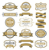 Vector illustration of the marketing badges and vintage frame set