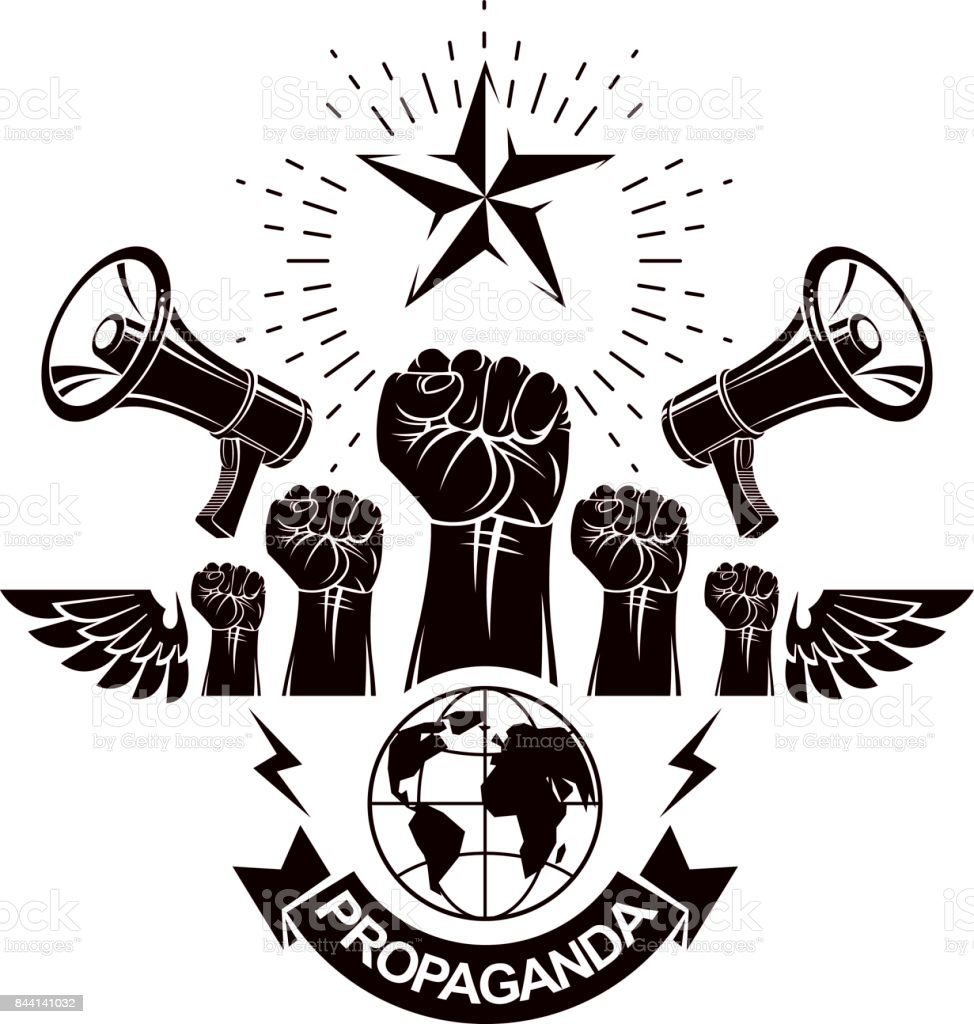 Marketing banner composed with loudspeakers, raised clenched fists and Earth planet, vector illustration. Propaganda as the means of influence on global public opinion. vector art illustration