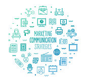 Marketing and communication strategies outline style symbols on modern gradient background. Line vector icons for infographics, mobile and web designs.