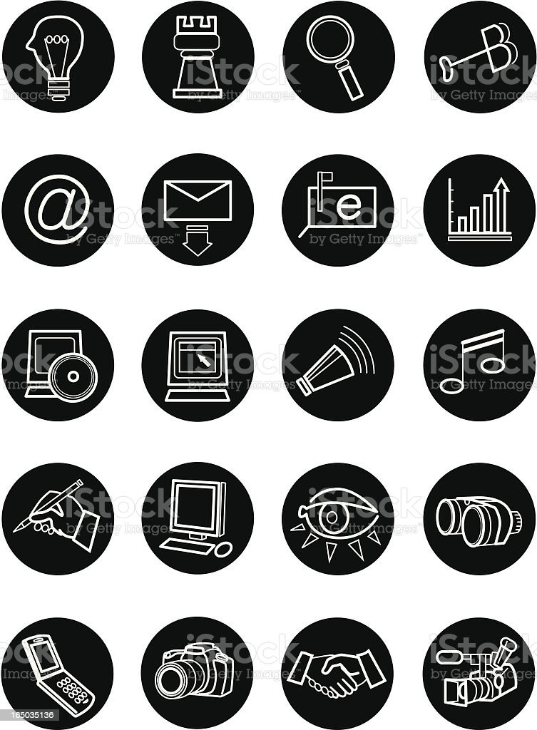 Marketing Communications Icon Set royalty-free marketing communications icon set stock vector art & more images of black color