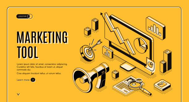 Marketing e-commerce, data analysis tool banner vector art illustration