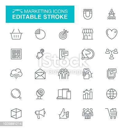 Business And Strategy, Data, Magnifying Glass, Presentatio, Editable Line Icon Set