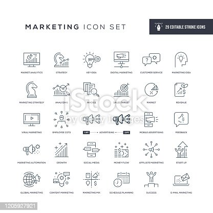 29 Marketing Icons - Editable Stroke - Easy to edit and customize - You can easily customize the stroke with