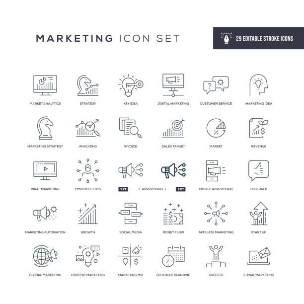 Marketing Editable Stroke Line Icons 29 Marketing Icons - Editable Stroke - Easy to edit and customize - You can easily customize the stroke with marketing stock illustrations
