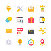 istock Marketing Flat Icons. Material Design Icons. Pixel Perfect. For Mobile and Web. Contains such icons as Funnel, Tools, Email Marketing, Text Messaging, Customer Relationship Management, Review, Analytics. SEO. 1158668371