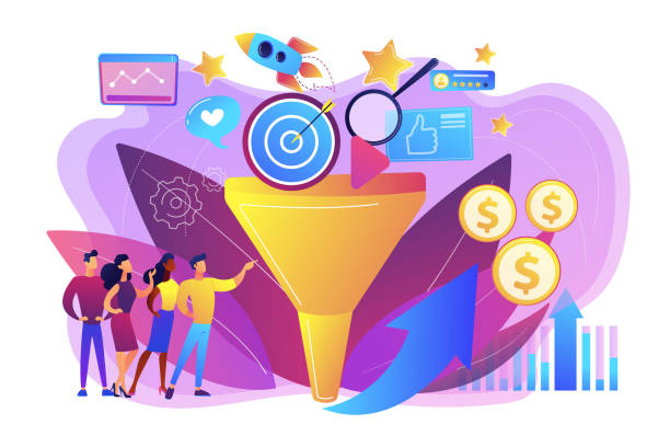 Marketing funnel concept vector illustration. Analysts analyzing market. Selling strategy, lead generation. Marketing funnel, product marketing cycle, advertising system control concept. Bright vibrant violet vector isolated illustration digital marketing stock illustrations