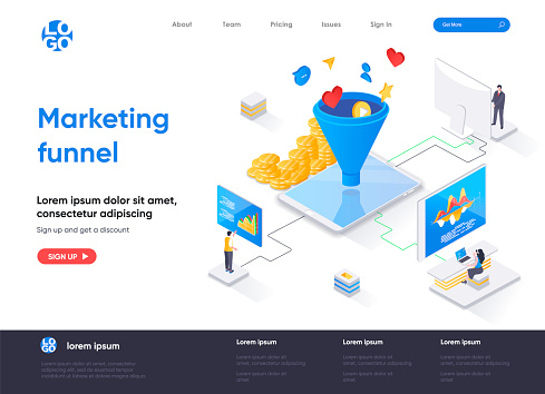 Marketing funnel isometric landing page. Marketing research and strategy planning, attraction of new customers isometry web page