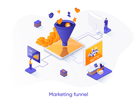 Marketing funnel isometric web banner. Marketing research and strategy planning isometry concept. Attraction of potential customers 3d scene, flat design