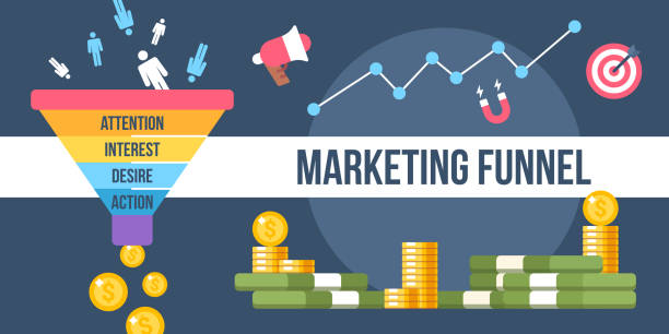 marketing funnel The digital marketing funnel infographic winning new customers with marketing strategies sales occupation stock illustrations