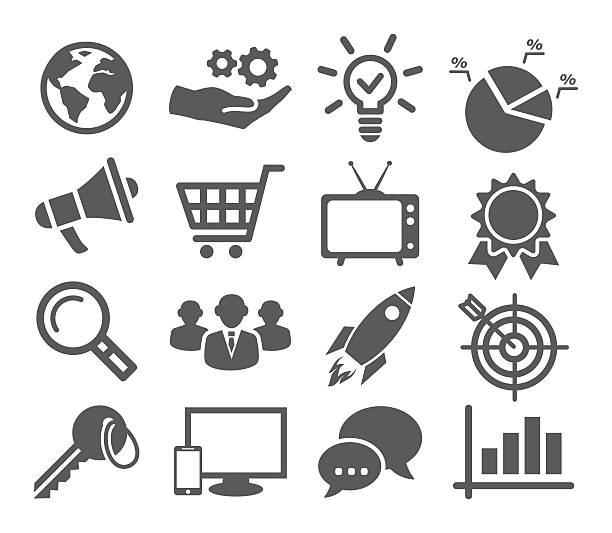 stockillustraties, clipart, cartoons en iconen met marketing icon set - orthografisch symbool