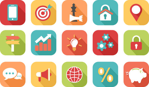 Marketing icon Colorful marketing strategy icons stratégie stock illustrations