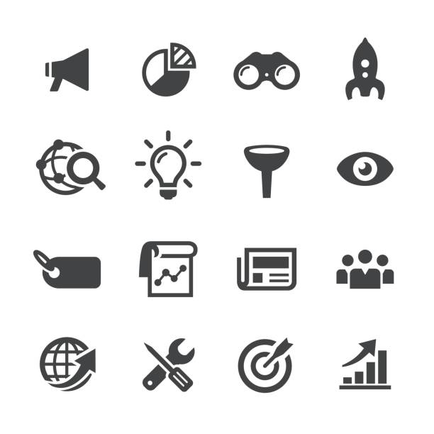 marketing icons - acme series - part of a series stock illustrations, clip art, cartoons, & icons