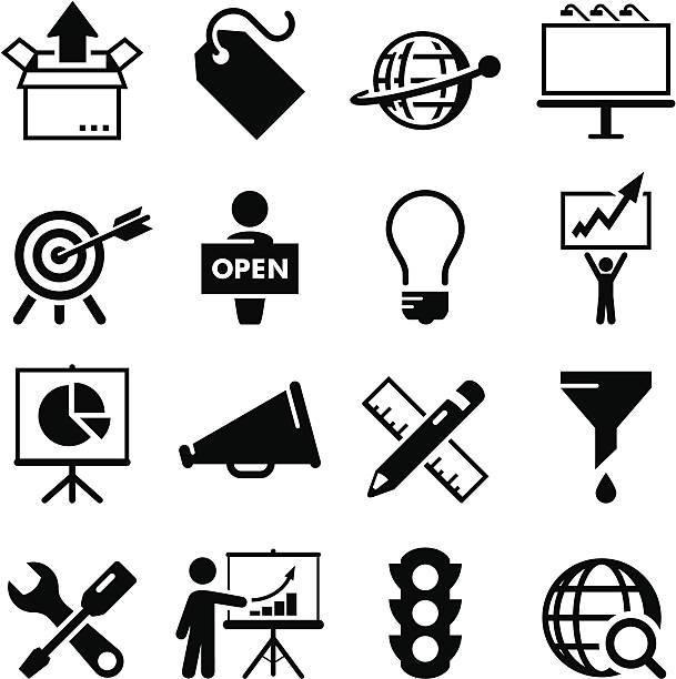 Marketing série d'icônes-Noir - Illustration vectorielle