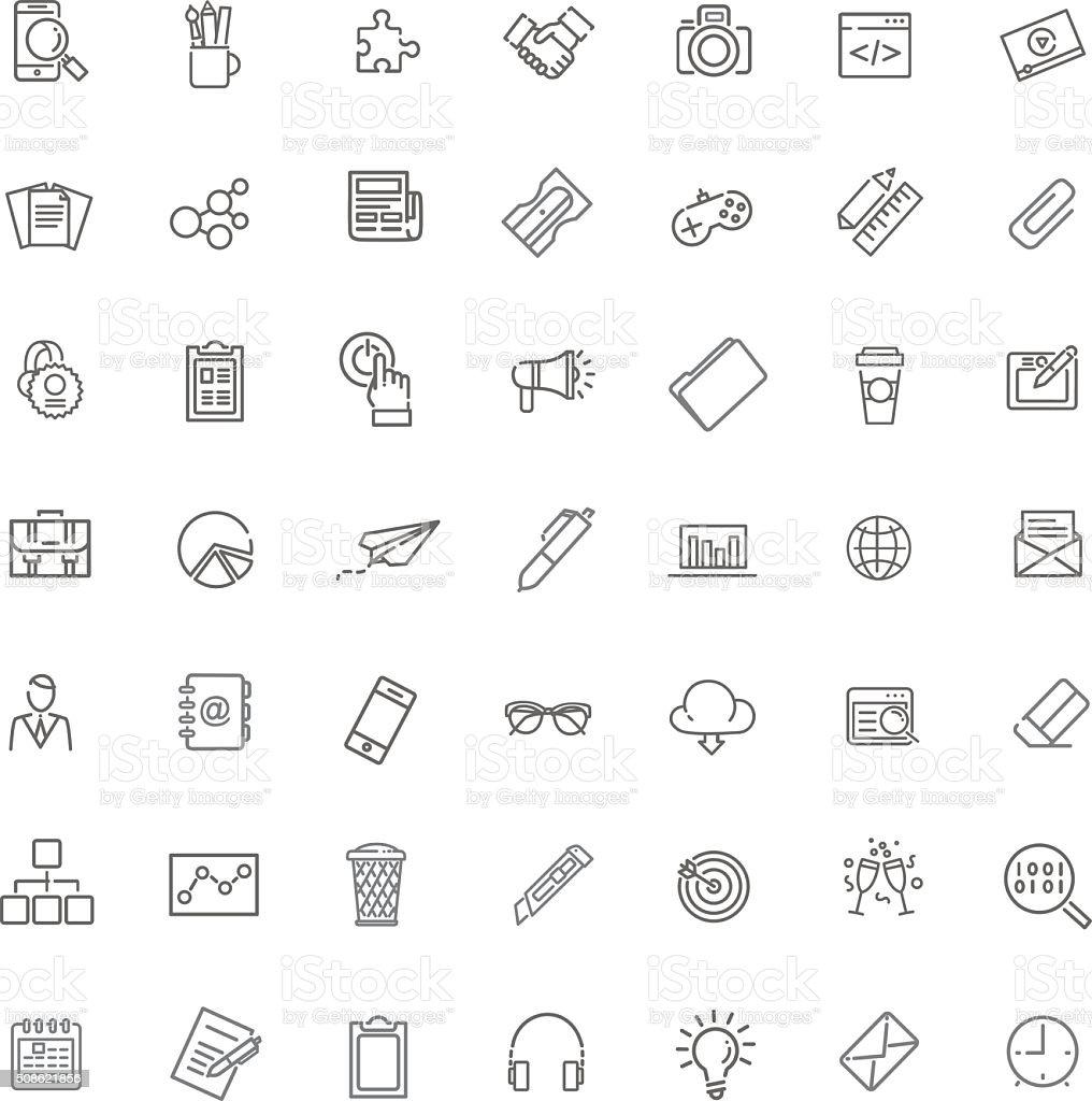 Marketing Icons set vector art illustration